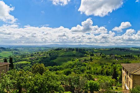 House with a view on Tuscany landscape near San Gimignano, Italy photo