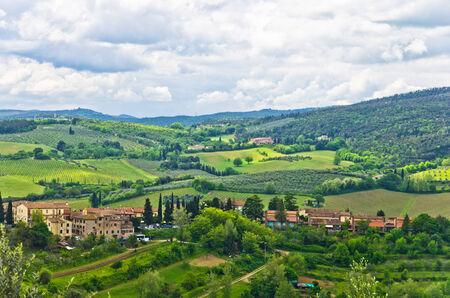 Tuscany hills, landscape near San Gimignano, Italy photo