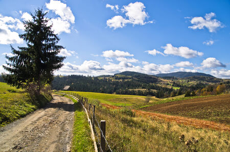 Mountain road and landscape at autumn sunny day, Radocelo mountain, central Serbia photo
