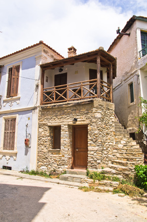 thassos: Old greek houses made of stone on Thassos island, Greece