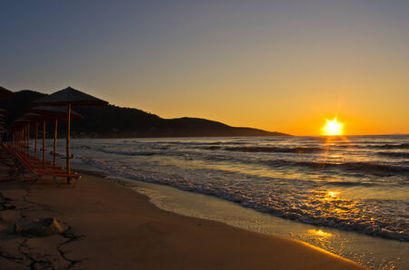 thassos: Sunrise and waves at golden beach, Thassos island in Greece