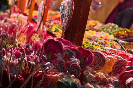 serbia xmas: Christmas candy store on the local square, Belgrade, Serbia Stock Photo