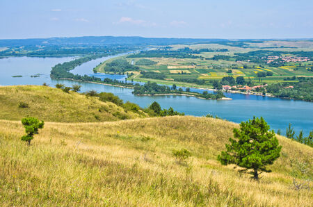 danubian: Panorama and landscape around Danube river in Serbia