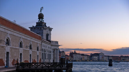 piazza san marco: Sunrise in Venice at Grand Canal near piazza San Marco, Italy Stock Photo