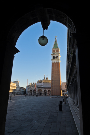 piazza san marco: Campanila bell tower at piazza San Marco in Venice, Italy Stock Photo