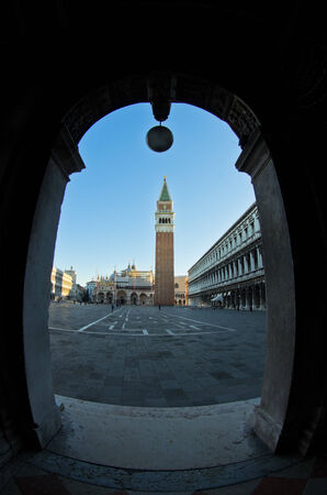 bell tower: Campanila bell tower at piazza San Marco in Venice, Italy Stock Photo