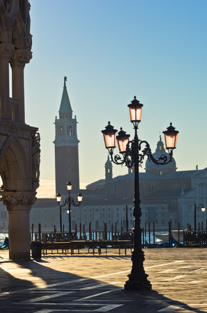 saint mark square: East side of piazza San Marco in Venice, San Giorgio Maggiore church is visible at the other side of Grand Canal, Italy Stock Photo