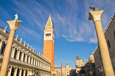 piazza san marco: Campanila bell tower and San Marco columns at piazza San Marco in Venice, Italy