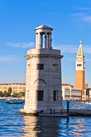 Campanila bell tower at piazza San Marco from the other side of a channel, Venice, Italy
