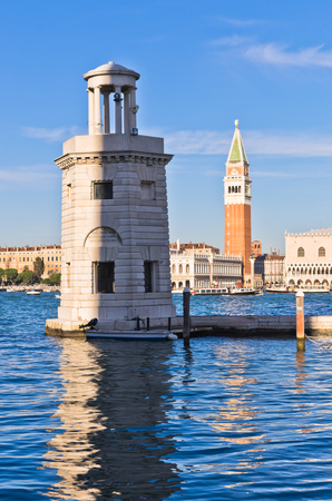 piazza san marco: Campanila bell tower at piazza San Marco from the other side of a channel, Venice, Italy Editorial