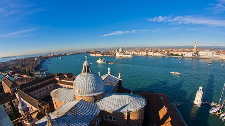 Super wide panoramic view of Venice from San Giorgio Maggiore church, Italy photo