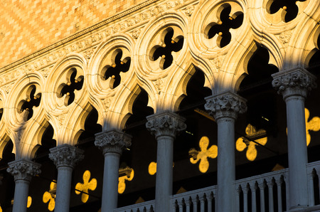 ducale: Architecture detail of Doges Palace or Palazzo Ducale at piazza San Marco in Venice, Italy