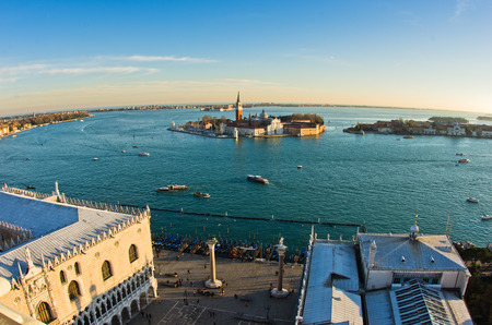 piazza san marco: Wide angle view of sunset in Venice, piazza San Marco, Doges palace, Grand Canal and San Giorgio Maggiore church in background, Italy