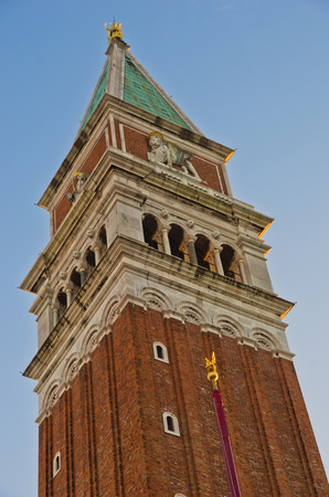 piazza san marco: Detail of Campanila bell tower at piazza San Marco in Venice, Italy