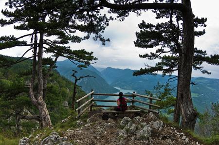 tara: Viewpoint Banjska rock at Tara mountain looking down to Canyon of Drina river, west Serbia