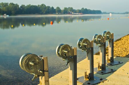 lake beach: Winch for boats at Ada island lake beach in Belgrade, Serbia Stock Photo