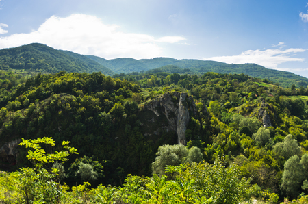 serbia landscape: Landscape of Jelasnica gorge at sunny autumn afternoon in east Serbia