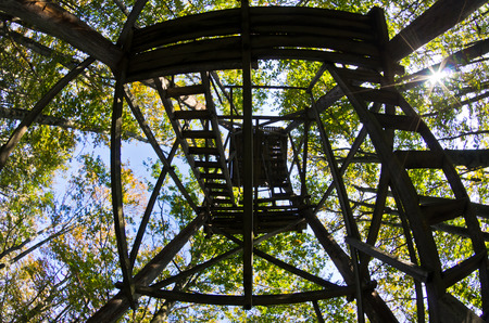 watchtower: Hunting watchtower platform at Homolje mountain forest, east Serbia Stock Photo