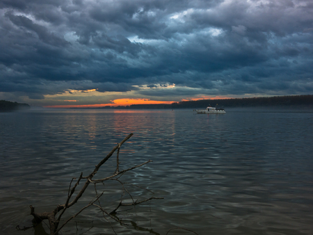 Low and dark clouds over Danube river before a storm in Belgrade, Serbia