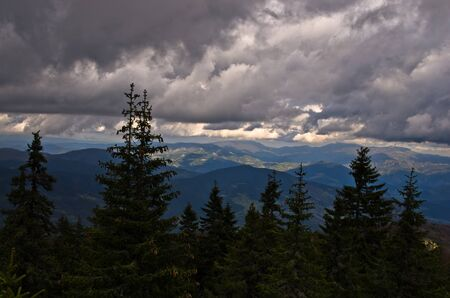 serbia landscape: Landscape of Radocelo mountain with dark clouds before a storm, central Serbia