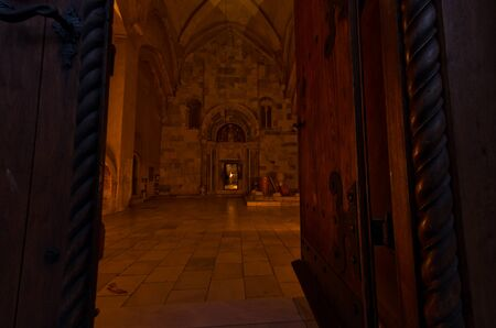 the world heritage: Entrance to church inside 12.century Studenica monastery at evening, UNESCO world heritage site in Serbia Editorial