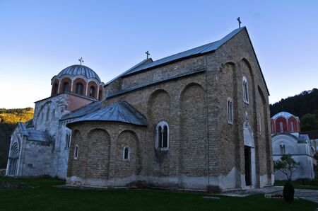 the world heritage: Two churches inside 12.century Studenica monastery at sunset UNESCO world heritage site in Serbia