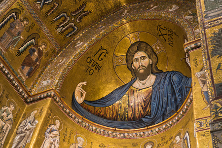 Christ Pantocrator fresco inside Monreale cathedral or Duomo di Monreale near Palermo Sicily Italy