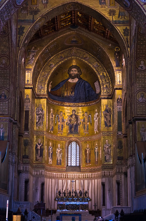 pantocrator: Christ Pantocrator fresco inside Monreale cathedral or Duomo di Monreale near Palermo Sicily Italy