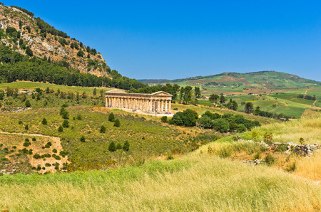 segesta: Landscape of Sicily with old greek temple at Segesta Italy
