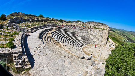segesta: Landscape of Sicily with ancient greek theater at Segesta Italy Stock Photo