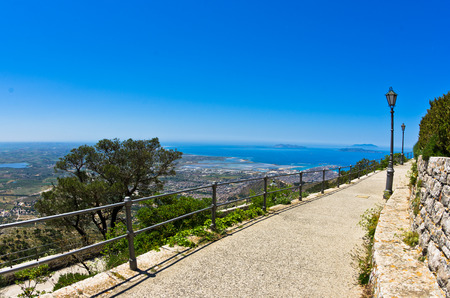 egadi: Promenade and viewpoint to city of Trapani and famous Egadi islands at Erice Sicily Italy