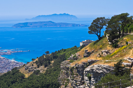 egadi: Viewpoint at famous Egadi islands from a top of a cliff at Erice Sicily Italy