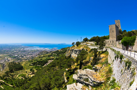 egadi: Promenade and viewpoint at famous Egadi islands Erice Sicily Italy