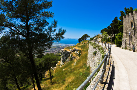 egadi: Promenade and viewpoint at famous Egadi islands Erice Sicily Italy