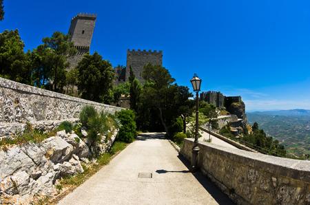 venus: Promenade and castle of Venus at Erice Sicily Italy Editorial