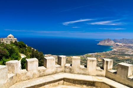 erice: Viewpoint from Venus castle to Monte Cofano at Erice Sicily Italy