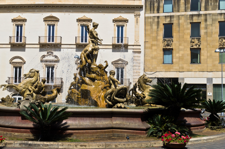 ortigia: Fountain of Diana at Ortigia City of Syracuse Sicily Italy Editorial