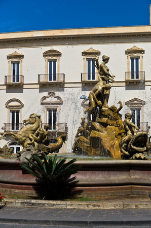 syracuse: Fountain of Diana at Ortigia City of Syracuse Sicily Italy Editorial