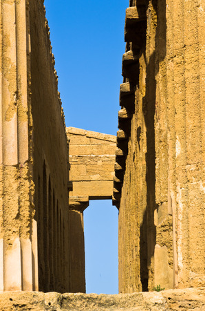 concordia: Detail from Temple of Concordia at Agrigento Valley of the Temple Sicily Italy