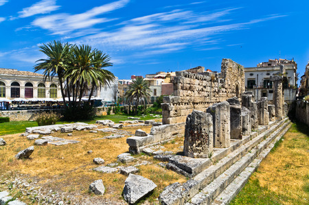 Temple of Apollo ancient Greek monument in Ortigia Syracuse Sicily Italy Banco de Imagens