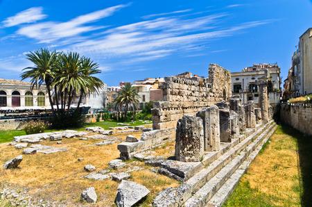 ortigia: Temple of Apollo ancient Greek monument in Ortigia Syracuse Sicily Italy Stock Photo