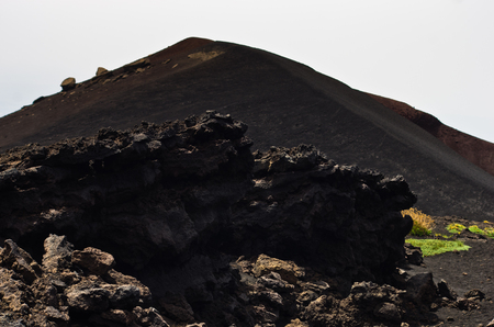 craters: Mount Etna landscape with volcano craters in Sicily Italy Stock Photo