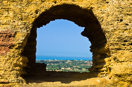 agrigento: Landscape view from Valley of the Temple Agrigento Sicily Italy