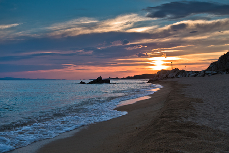 sithonia: Waves on a sandy beach at sunset, west coast of Sithonia, Greece