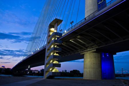 cable bridge: Cable bridge over Sava river at twilight, Belgrade, Serbia