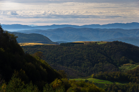 serbia landscape: Viewpoint on a landscape of mount Bobija, hills, meadows and colorful forests, west Serbia