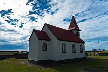 grindavik: Traditional icelandic wooden church in Grindavik, Iceland