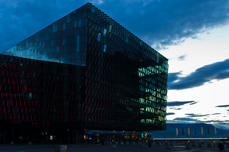 opera house: Harpa concert hall and opera house in Reykjavik harbor at sunrise, Iceland