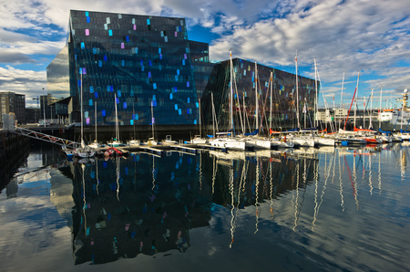 concert hall: Harpa concert hall and opera house in Reykjavik harbor at morning, Iceland Editorial