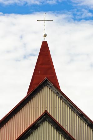 grindavik: Detail of traditional icelandic wooden church in Grindavik, Iceland